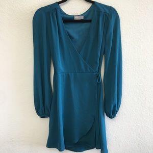 Asos Teal Wrap Dress Size: 6
